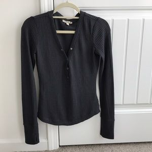 Long sleeved waffle texture henley by Express